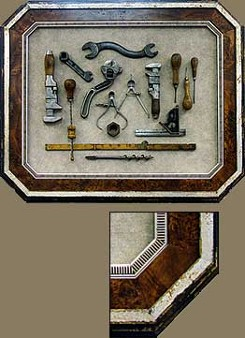 Double Framed Antique Tool Set